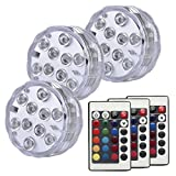 Tripop Submersible LED Pool Light, RGB Color Changing and Battery Powered Waterproof Floral Vase Light with Remote (3 Pack)