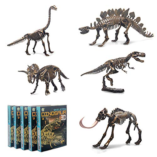 5 Different Dinosaur Skeleton Puzzles Model Set 3D Puzzles for Adults, DIY Skeleton Dinosaur Toys for Kids Ages 6 and Up