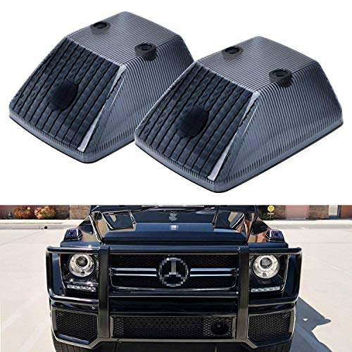 iJDMTOY Gloss Black Front Turn Signal Lamp Lenses Compatible With 1986-18 Mercedes W463 G-Class G500 G550 G55 G63 G65, (2) Smoked OE-Spec Replacement