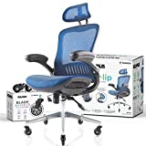 NOUHAUS ErgoFlip Mesh Computer Chair - Blue Rolling Desk Chair with Retractable Armrest and Blade Wheels Ergonomic Office Chair, Gaming Chairs, Executive Swivel Chair/High Spec Base