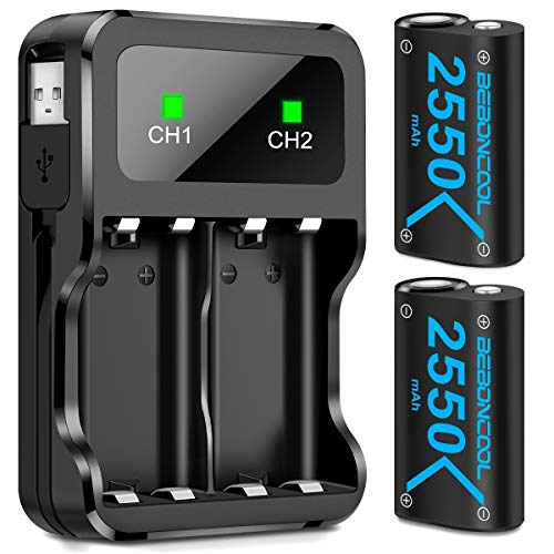 Controller Battery Pack for Xbox One, BEBONCOOL 2x2550 mAh Rechargeable Battery Pack for Xbox One/Xbox One S/Xbox One X/Xbox One Elite Controller