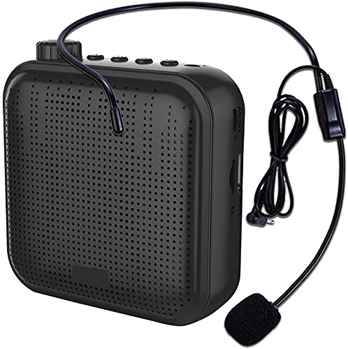 Voice Amplifier, Portable Wired Speaker Mini Voice Amplifier For Teacher, Shopping Guide, The Aged, Coaches, Tour Guide Built-in Rechargeable Battery (1200mAh) PA System with Microphone (Black)