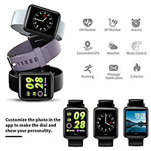 Lintelek Smart Watch, Smartwatch Blood Pressure Monitor, 1.3 Inch Fitness Tracker HR with Sleep Monitor, Fitness Watch Compatible with iPhone, Samsung and Android Phones for Men, Women and Gifts