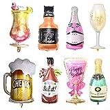 Champán globos de papel de aluminio,xiuyer conjunto de 8 globos inflables grandes champagne botellas vino vasos jarra de cerveza helio balloons para cumpleaños boda navidad carnaval fiesta decoración