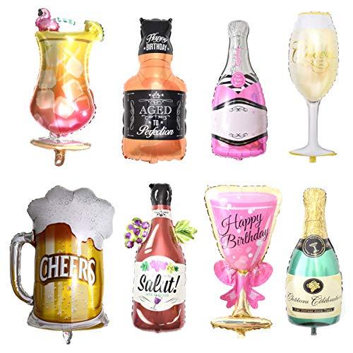 Palloncini Champagne,Xiuyer 8 Pezzi Palloncini Grandi in Foglio di Alluminio Bottiglia Bicchieri Vino e Boccalo di Birra Balloon Gonfiabili per Compleanno Matrimonio Natale Carnevale Festa Decorazione