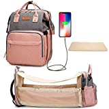 Diaper Bag Backpack Foldable Baby Bed, 3 in 1 Portable Sleeping Mummy Bag Changing Station Pad, All Waterproof Nappy Bags Large Capacity Travel Baby Bassinet for Moms Dads,Pink