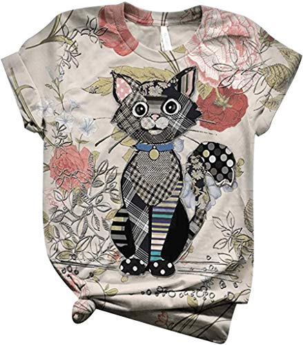 POINWER Women's Short-Sleeved Funny Tire Print T-Shirts Double-Sided 3D Print Crew Neck T-Shirt Cats Sunflower Giraffe Cat Tail Dog Cow Pattern Tops Girls Beautiful Tops Blouse Shirts