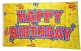 Flaggenfritze® Flagge/Fahne Happy Birthday gelb - 90 x 150 cm