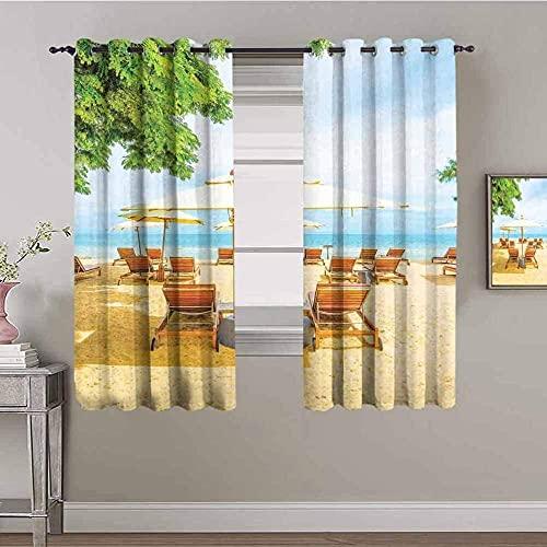 Cortinas opacas para dormitorio Cortinas con ojales de sala de estar súper suaves 59X106 pulgadas Cortinas de ventana reductoras de ruido con aislamiento térmico de caída Impresión 3D Sillas de playa