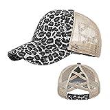 Leopard Ponytail Criss Cross Trucker Hat - Distressed Messy High Bun Mesh Ponycap Baseball Cap for Women Girls