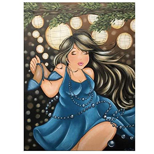 5D Diamond Painting, Peinture Diamant Complet Pour Adultes, Diamant Painting Pour Enfants, Salon Chambre Décoration Autocollant Mural Femme Obèse En Robe Longue Bleue50X70Cm