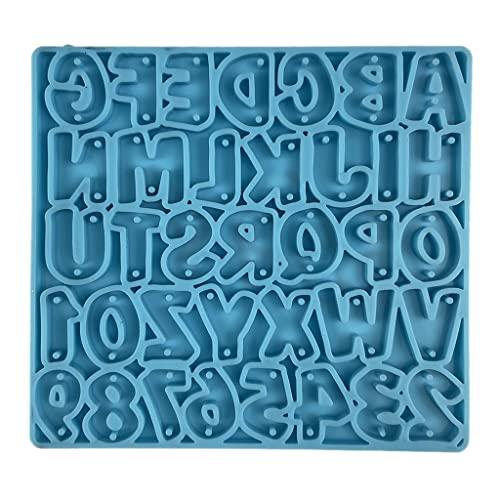 Dedepeng Llavero del alfabeto de resina epoxi, forma de letra, número de pendientes, collar, colgante, molde de silicona, DIY, artesanía, forma de joyas