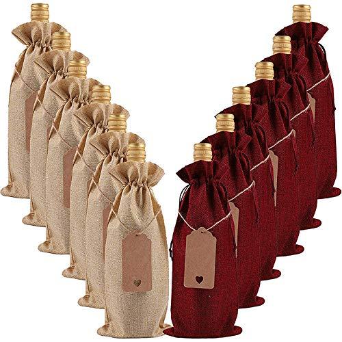 Paquete de 12 bolsas de yute para vino de arpillera, fundas con cordón para botellas de vino con etiquetas para Navidad, bodas, viajes, cumpleaños, fiestas de vacaciones
