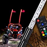 4ft LED Whip Light for UTV ATV [21 Modes] [20 Colors] [RF Wireless Remote] [Weatherproof] [USA Flag] LED Lighted Whip Antenna for RZR Can-Am Polaris UTV ATV Accessories