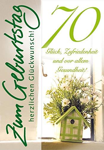 Geburtstagskarte zum 70. Geburtstag Basic Classic - Vogelhaus - 11,6 x 16,6 cm