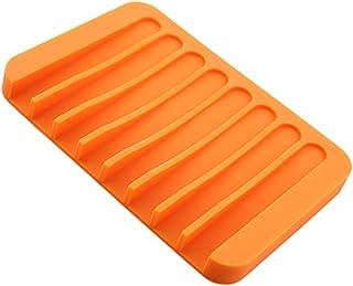 XIMING バスルームのためのシリコーンコーム石鹸トレイ滑り止め排水皿ラック - オレンジ
