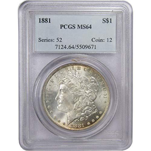 1881 Morgan Dollar MS 64 PCGS 90% Silver $1 US Coin Collectible