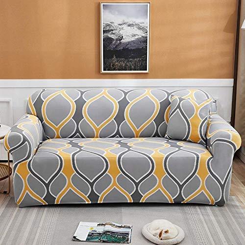 Estiramiento Funda de sofá 2 Plazas 1 Pieza Antideslizante Fundas Impresa para Sofas Sofás Cubre Sofá Ajustable Protector de Muebles 2 Fundas de Almohada Patrón Amarillo Gris