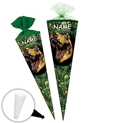 alles-meine.de GmbH Schultüte - Dinosaurier - Tyrannosaurus Rex - 85 cm - 6 eckig - incl. Name - Tüllabschluß - Zuckertüte - mit / ohne Kunststoff Spitze - Nestler - Jungen Junge..