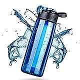 WYYHAA Botella de Agua con Filtro, sin Pajita de Filtro integrada de 2 etapas de Bpa para Caminatas de Campamento Senderismo de Emergencia y Viaje 650 Ml,Blue