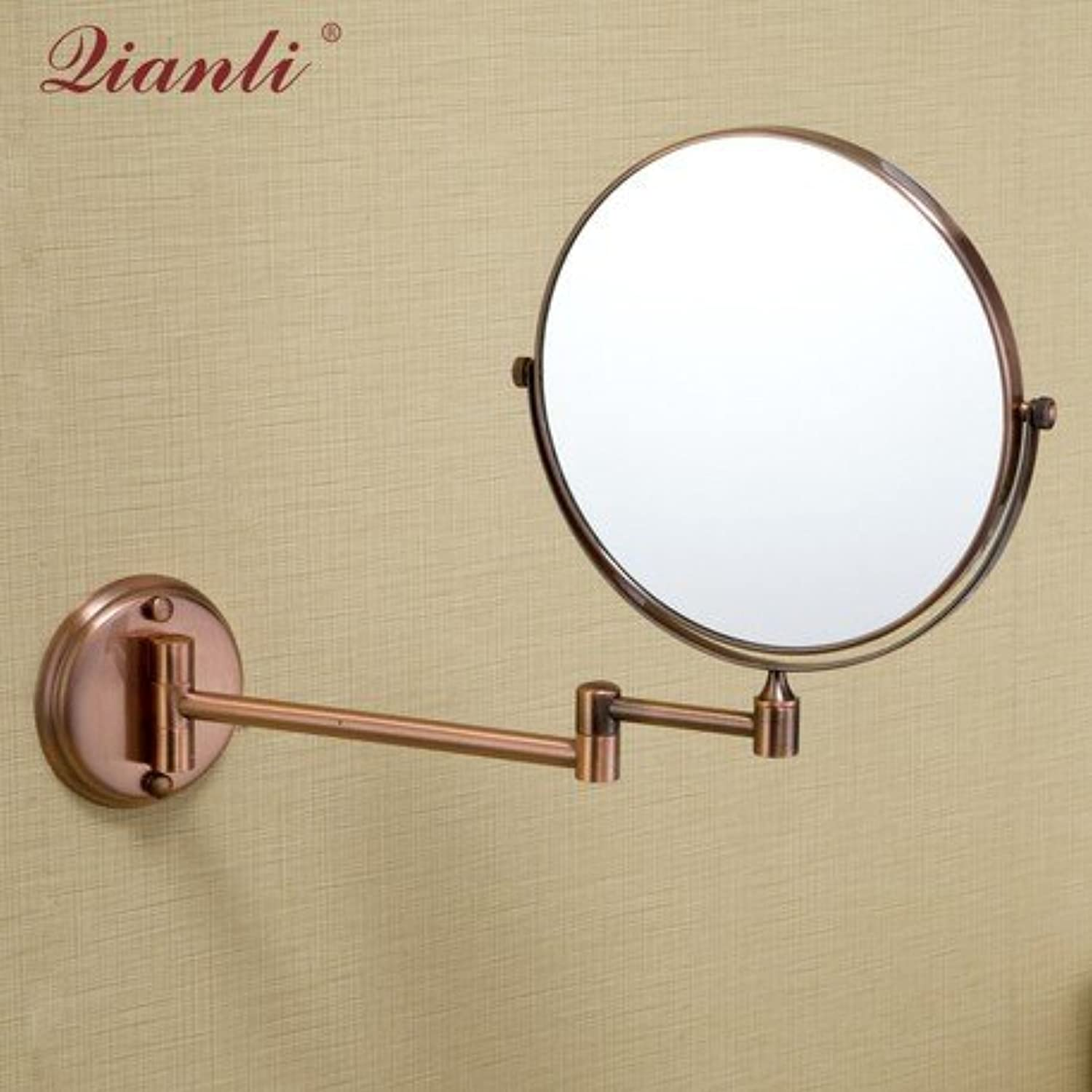 Copper mirror bathroom bathroom mirror double-sided Red Wall mounted makeup mirror 6
