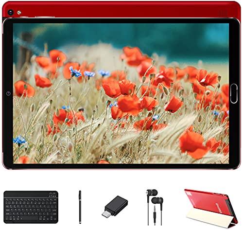 Tablet 10 Pollici 4GB RAM 64GB SSD ROM Android 10 GOODTEL Tablets con Doppia Fotocamera | WiFi | IPS | 8000mAh | FM | Bluetooth | MicroSD 4-128GB Espandibili, con Tastiera Bluetooth, Rosso