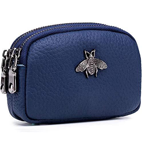 Monedero de Cuero Genuino para Mujer - Doble Cremallera Bolsa de Cambio de Abeja Monedero Portatarjetas Monedero Mini Simple Monedero Lindo útil para Damas Mujer (Azul)