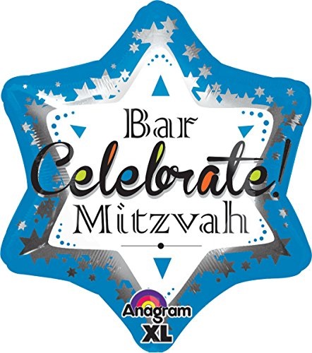 "Anagram International Bar Mitzvah Blue Jr. Shape Balloon, 21"", Multicolor"