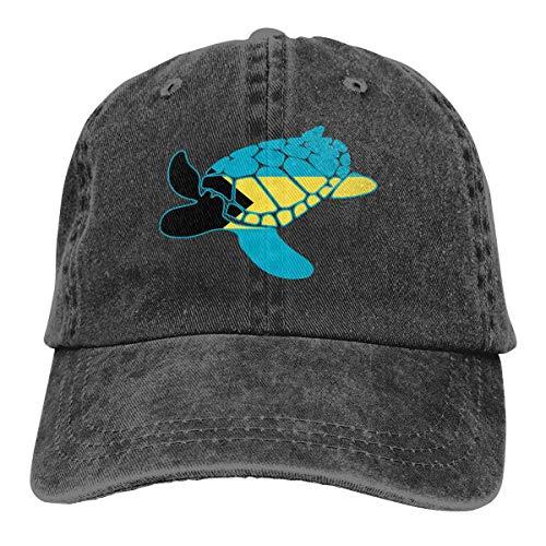 FGHGF Bahama's vlag zeeschildpad mannen vrouwen verstelbare honkbal caps Denim Jeanet Hip Hop Cap
