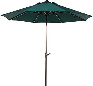 Abba Patio 9 ft Patio Umbrella Outdoor Market Table Umbrella with Push Button Tilt and Crank for Garden, Lawn, Deck, Backyard & Pool, 8 Sturdy Steel Ribs, Dark Green