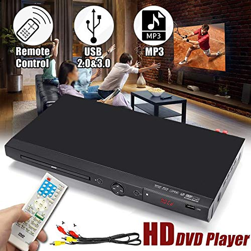 DVD Player 110V-240V USB Portable Multiple Playback DVD Player Full HD 1080p DVD CD MP3 Disc LED Display Player Home Theatre System