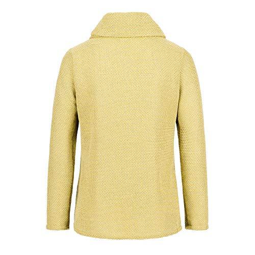 LEXUPE Women Autumn Winter Warm Comfortable Coat Casual Fashion Jacket Ladies Printing Long Sleeve Tops Zipper Jacket Outwear Loose Tops Yellow