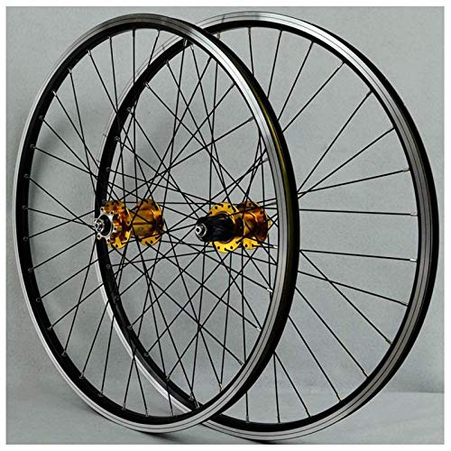 TYXTYX 26 Inch Front Bicycle Wheel MTB Bike Wheelset Rear Mountain Bike Wheelset Double Wall Aluminum Alloy Disc/V-Brake Cycling Bicycle Wheels 32 Hole Rim 7/8/9/10 Cassette Wheels,Yellow