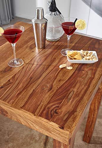 FineBuy Bartisch Massivholz Sheesham 80 x 80 x 110 cm Bistro-Tisch modern Landhaus-Stil Holz-Steh-Tisch quadratisch dunkel-braun Natur-Produkt Massiv-Holz-Möbel Hausbar Esstisch Echt-Holz unbehandelt - 5