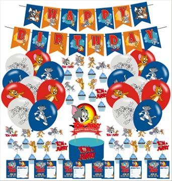 Tom and Jerry Party Decorations,Tom and Jerry Birthday Party Supplies, Party Favors included Cake Topper, Cupcake Toppers, Banners,Latex Balloons,Invitations