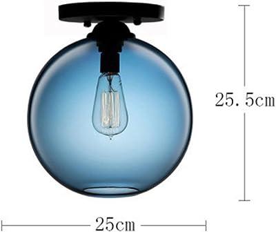 Lightoray Iluminación colgante moderna de luces de techo Pasarela de cristal azul 25 * 25.5CM