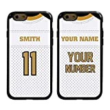 Custom Football Jersey Cases for iPhone 6 / 6s by Guard Dog – Personalized – Put Your Name and Number on a Rugged Hybrid Phone Case. Includes Guard Glass Screen Protector (Black/Black)