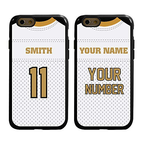 Guard Dog Custom Football Jersey Cases for iPhone 6 / 6s Personalized Sports – Your Name and Number on a Protective Hybrid Phone Case. (Black/Black)