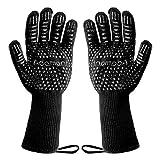 Adamant Grillhandschuhe Grillhandschuhe hitzebeständig bis 800°C – Mit Magnetschlaufen – Grill Handschuhe in Universalgröße – rutschfeste Silikonbeschichtung – Extra Langer Saum