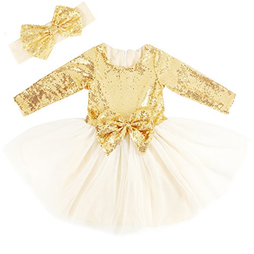 Cilucu Flower Girls Dresses Toddlers Birthday Party Princess Dress Sequin Tutu Prom Gown with Long Sleeve Gold 4T-5T