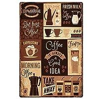 コーヒーは常に良いアイデアです。インチのブリキのサインヴィンテージ鉄の絵の金属板ノベルティの装飾クラブカフェバー。