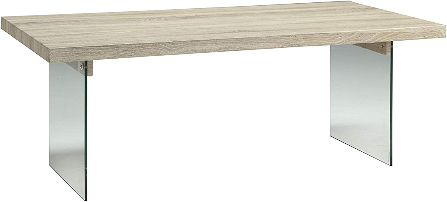 Benzara Conventional Coffee Table, Clear and Brown