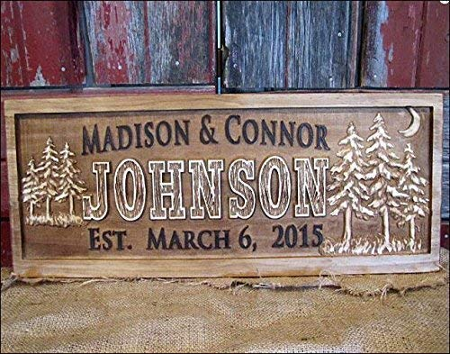 3d Personalized Family Name Signs MOON Custom Wooden Signs Last name Rustic Moon Wedding engagement Gift Established gift for couples personalized sign Pine Tree Custom outdoorsman gift
