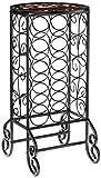 SEI Furniture 15 Wine Bottle Storage Table - Glass Top w/Black Finish - Elegant Wrought Iron Scrollwork