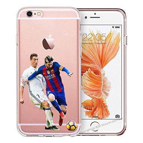 Handyhülle Weltmeister Cup Fussball kompatibel für Samsung Galaxy A3 2016 Messi VS Ronaldo Schutz Hülle Case Bumper transparent rund um Schutz Cartoon M15