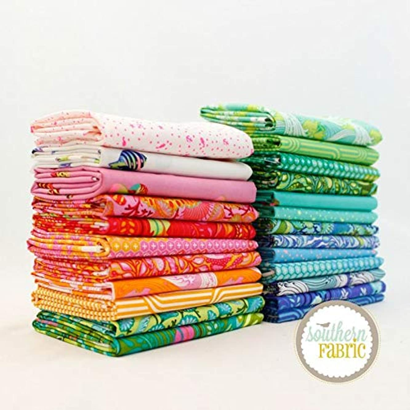 Free Spirit Zuma Fat Eighth Bundle (24 pcs) by Tula Pink 9 x 21 inches (22.86cm x 53.34cm) Fabric cuts DIY Quilt Fabric