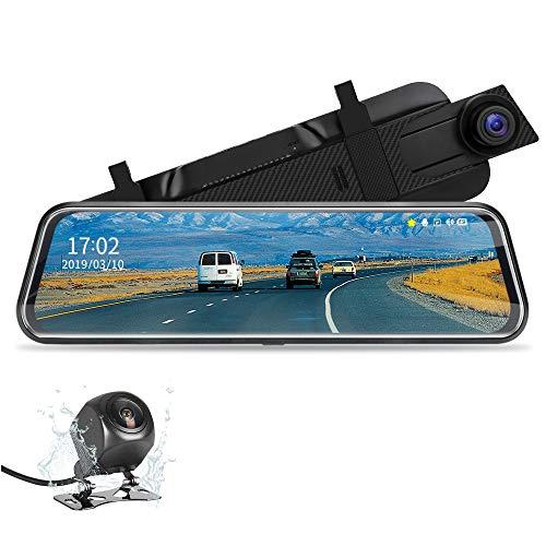 【2020 Neue Version】Jansite 10 Zoll Spiegel-Dashcam Full Touch Screen mit Loop-Aufnahme, 1080P Streaming Media DVR 170° Weitwinkel, Nachtsicht, Einparkkamera, Rückfahrkamera