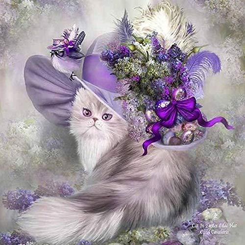 Lazodaer - Kit di pittura a mosaico 5D con numero, per adulti, bambini, artigianato artistico per decorazione da parete o regalo per un gatto nobile in un cappello viola, 30 x 30 cm