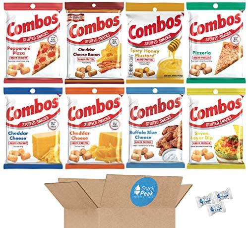 Combos Variety Snack Peak Gift Box (8 – 6.3 oz bags) – Pizza Pretzel, Honey Mustard, Cheddar Bacon Pretzel, Cheese Cracker, 7 Layer Dip, Buffalo Blue Cheese, Pizza Cracker, Cheese Pretzel