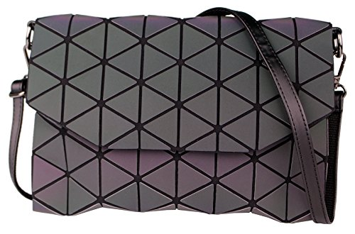 Geometric Shard Lattice Crossbody Shoulder Bags For Women Small PU Leather Holographic Purse (Luminous)